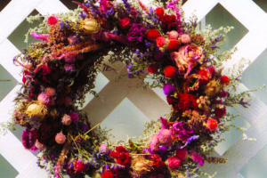 A holiday wreath made from dried herbs