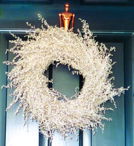 An image of a holiday wreath made from dried Artemisa