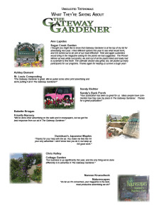 Testimonials from Gateway Gardener advertisers