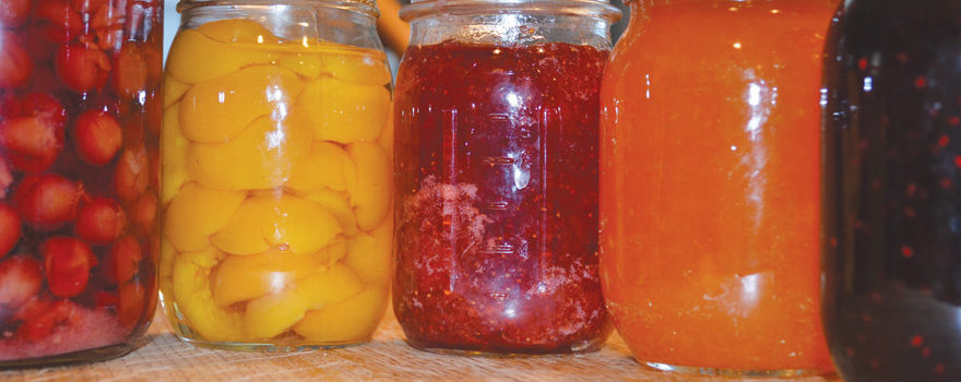 A picture of jarred preserves